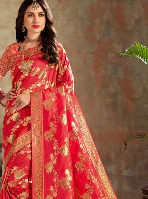 Silk Red Classic Saree