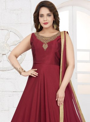 Silk Red Embroidered Anarkali Suit