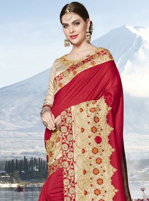 Silk Red Embroidered Designer Saree