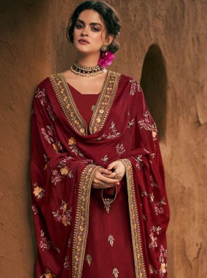 Silk Red Palazzo Suit