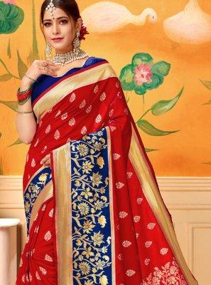Silk Red Print Classic Designer Saree