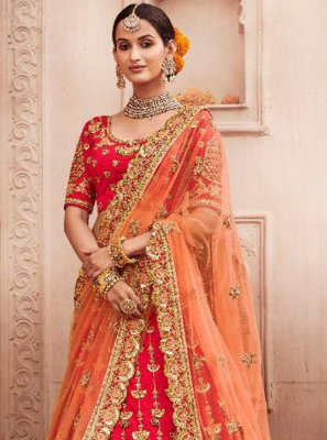 Silk Red Resham A Line Lehenga Choli