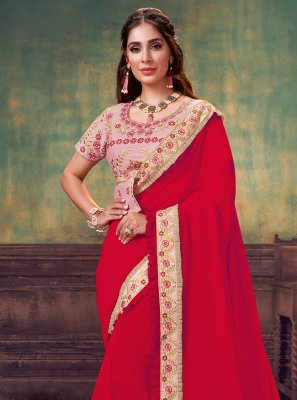 Silk Red Sequins Classic Saree
