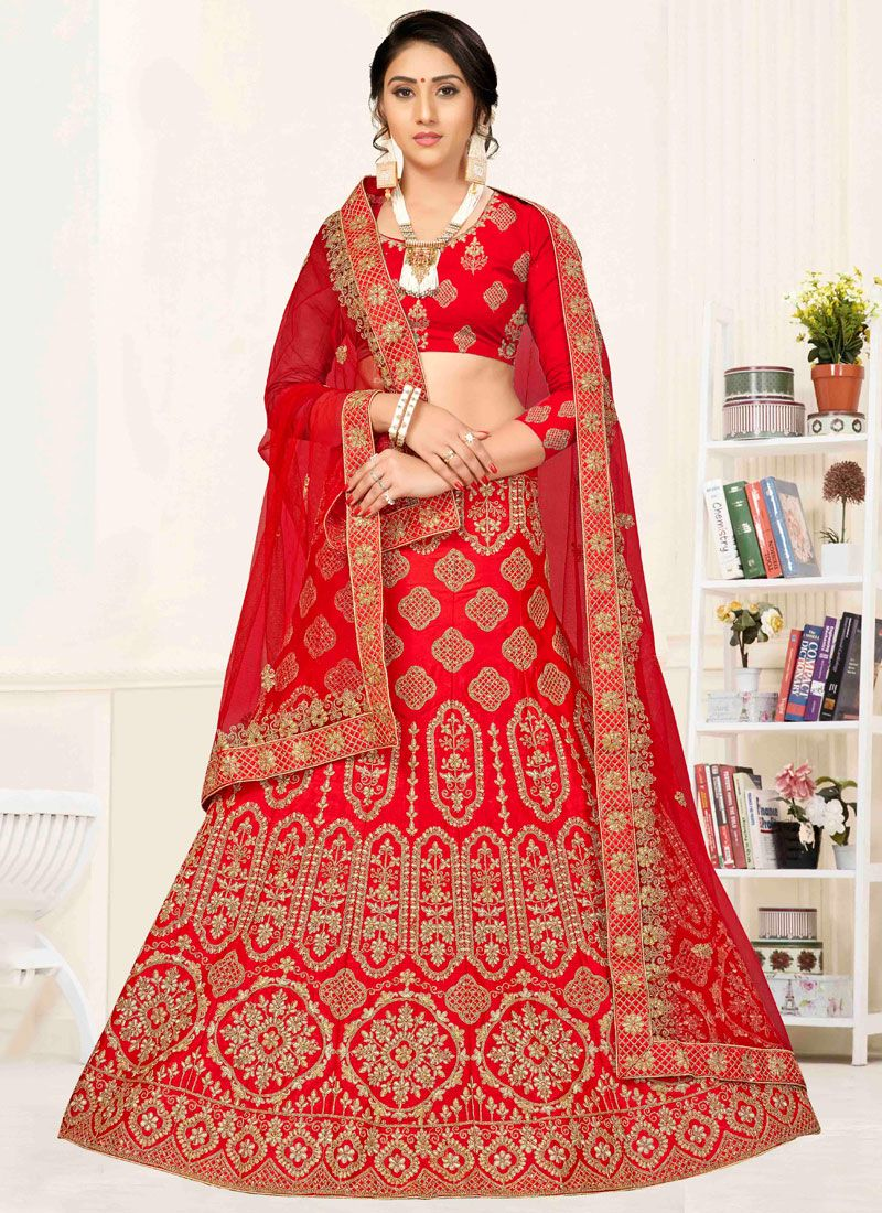 Silk Red Stone Lehenga Choli