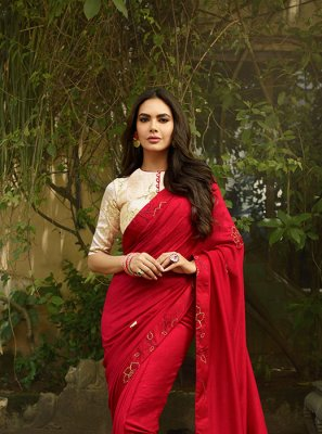 Silk Red Thread Work Traditional Designer Saree