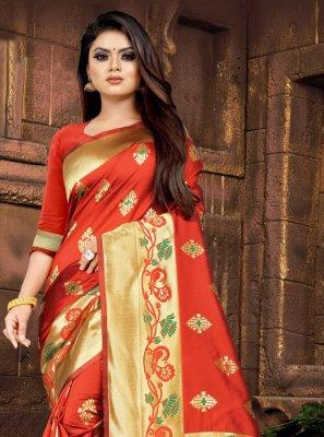 Silk Red Traditional Saree