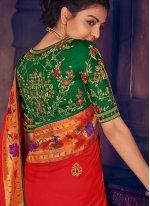 Silk Red Weaving Classic Saree