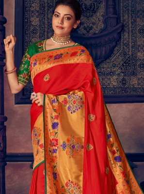 Silk Red Weaving Classic Saree