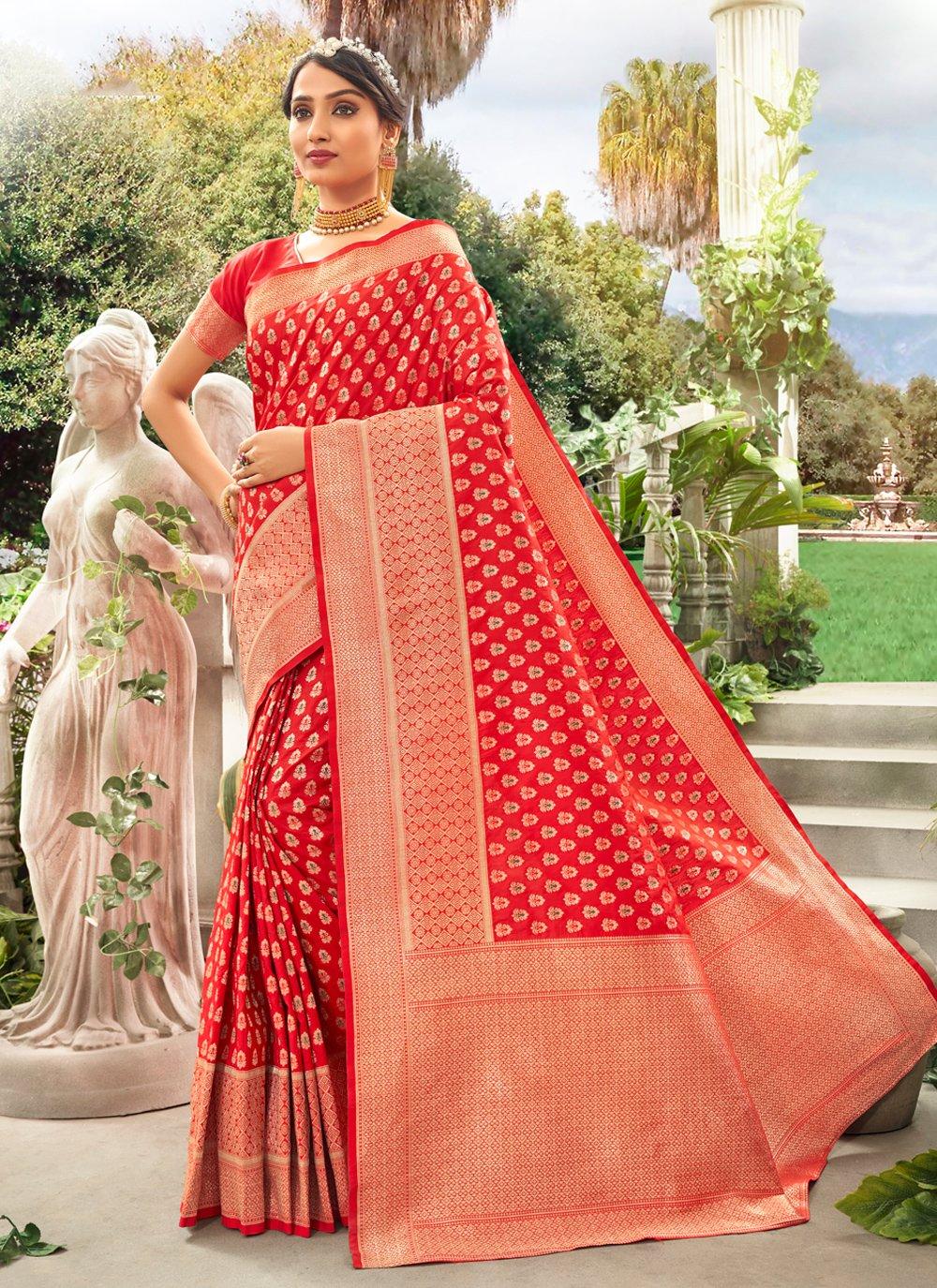 Silk Red Weaving Trendy Saree