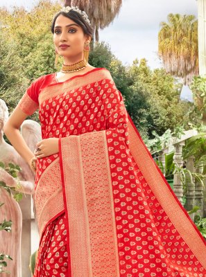 Silk Red Weaving Trendy Saree