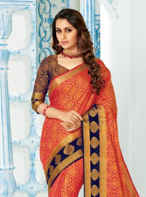 Silk Red Woven Classic Saree
