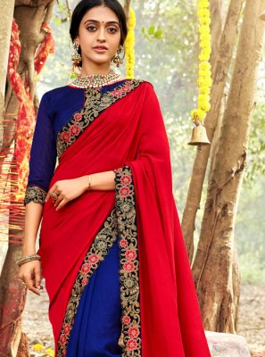 Silk Red Zari Designer Saree