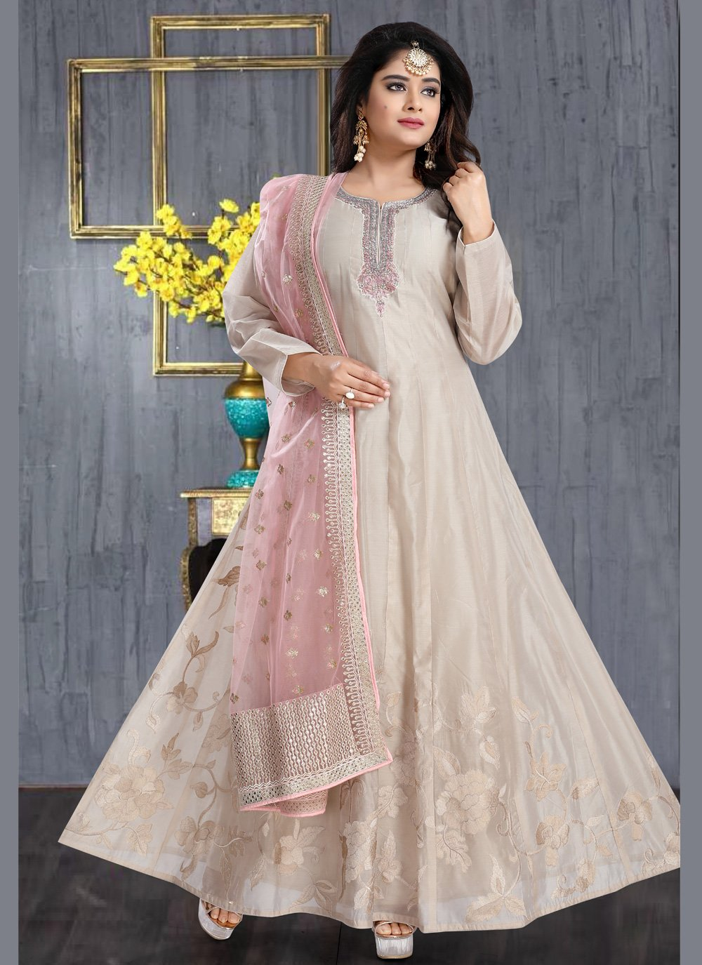 Silk Resham Anarkali Salwar Suit in Cream