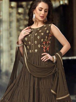 Silk Resham Brown Anarkali Suit