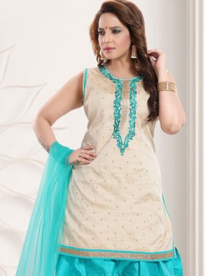 Silk Resham Cream Salwar Kameez