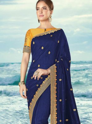 Silk Resham Designer Saree in Navy Blue
