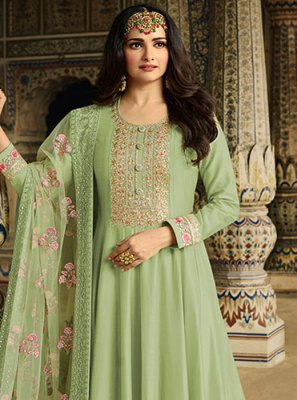 Silk Resham Green Anarkali Suit