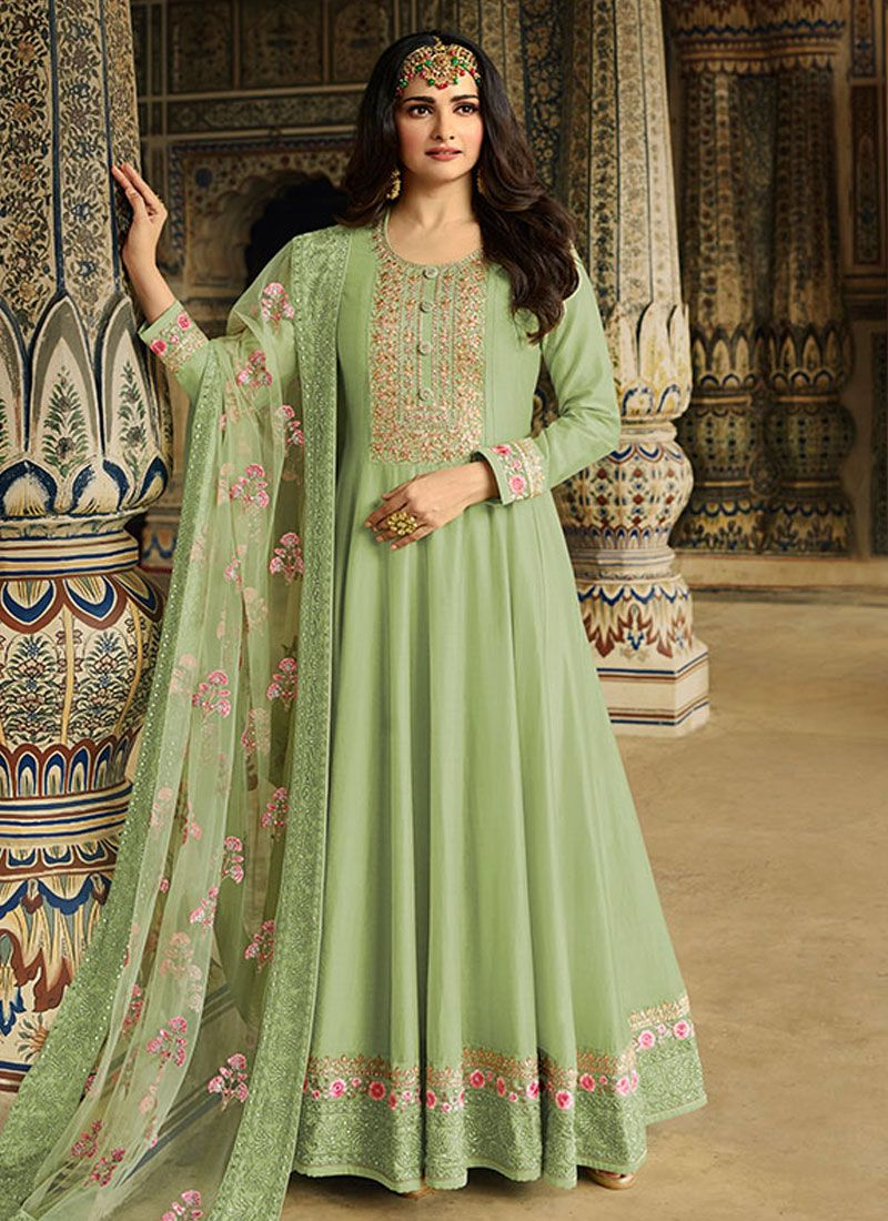 Silk Resham Green Anarkali Suit