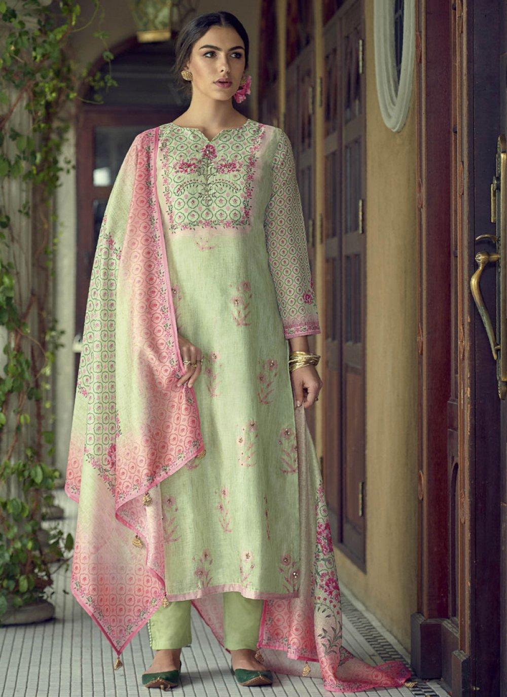 Silk Resham Green Designer Salwar Suit