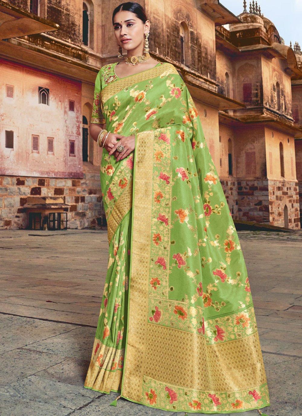 Silk Resham Green Traditional Saree