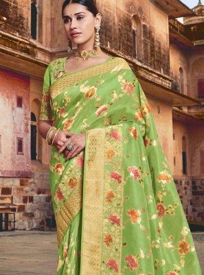 Silk Resham Green Traditional Saree