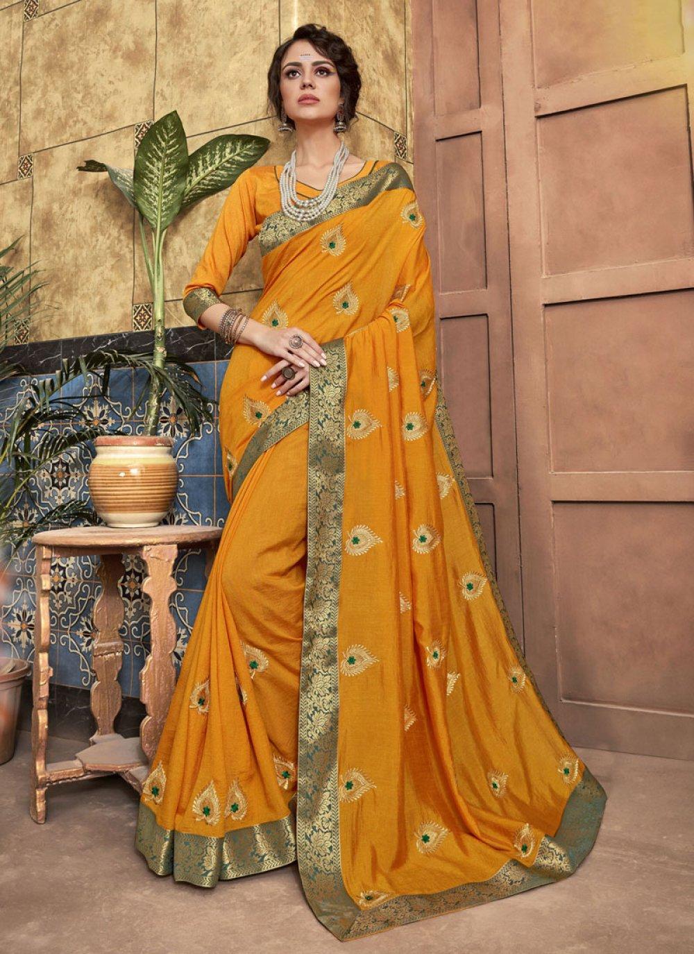Silk Resham Mustard Designer Saree
