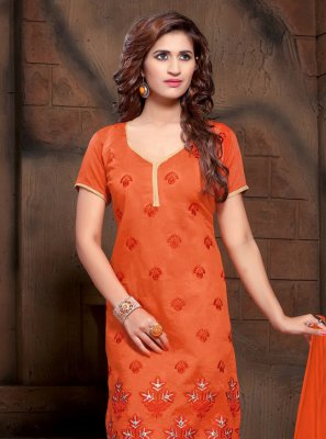 Silk Resham Orange Salwar Kameez
