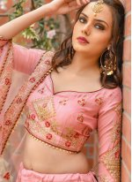 Silk Resham Pink A Line Lehenga Choli