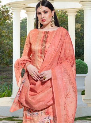 Silk Resham Pink Trendy Palazzo Suit