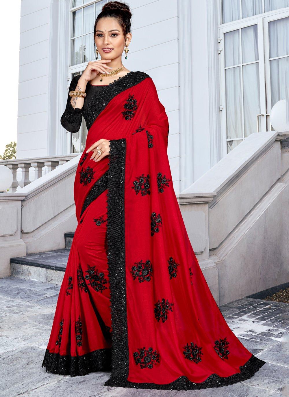 Silk Resham Red Trendy Saree
