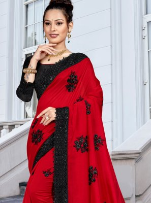 Silk Resham Red Trendy Saree