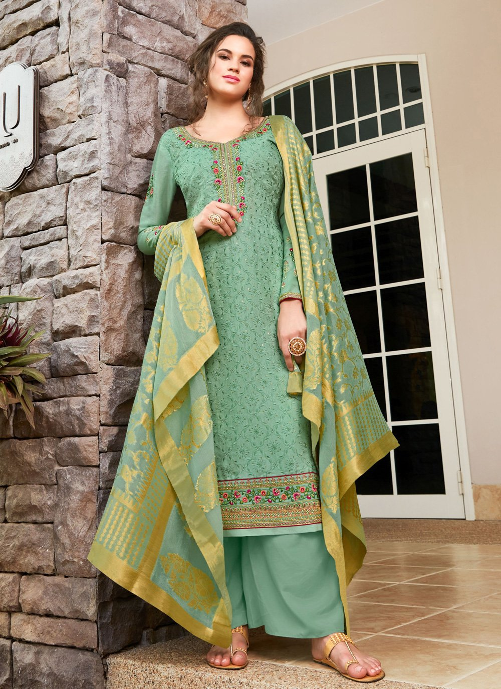 Silk Resham Trendy Salwar Kameez in Sea Green
