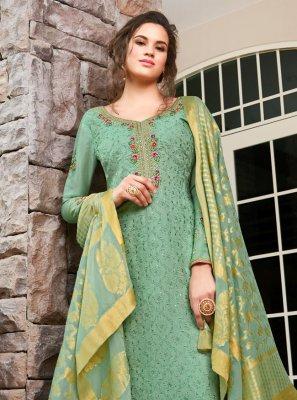 Silk Resham Trendy Salwar Kameez in Sea Green
