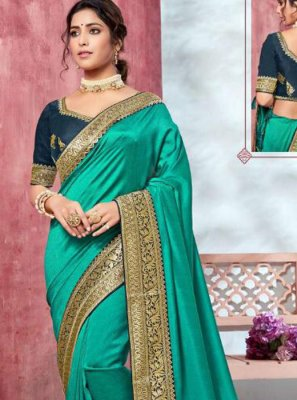 Silk Saree Border Silk in Turquoise