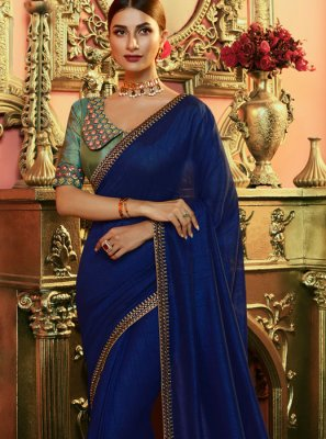 Silk Saree Embroidered Art Silk in Navy Blue
