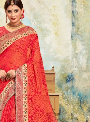 Silk Saree Embroidered Poly Silk in Red