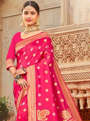 Silk Saree Embroidered Silk in Pink