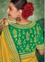 Silk Saree Embroidered Silk in Yellow
