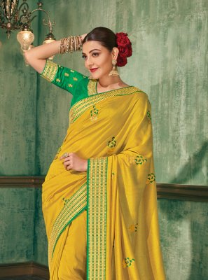 Silk Saree Embroidered Silk in Yellow
