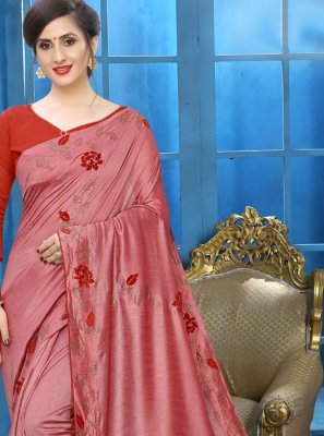 Silk Saree Patch Border Silk in Pink