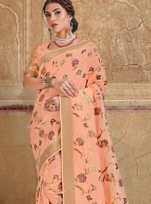 Silk Saree Resham Silk in Peach