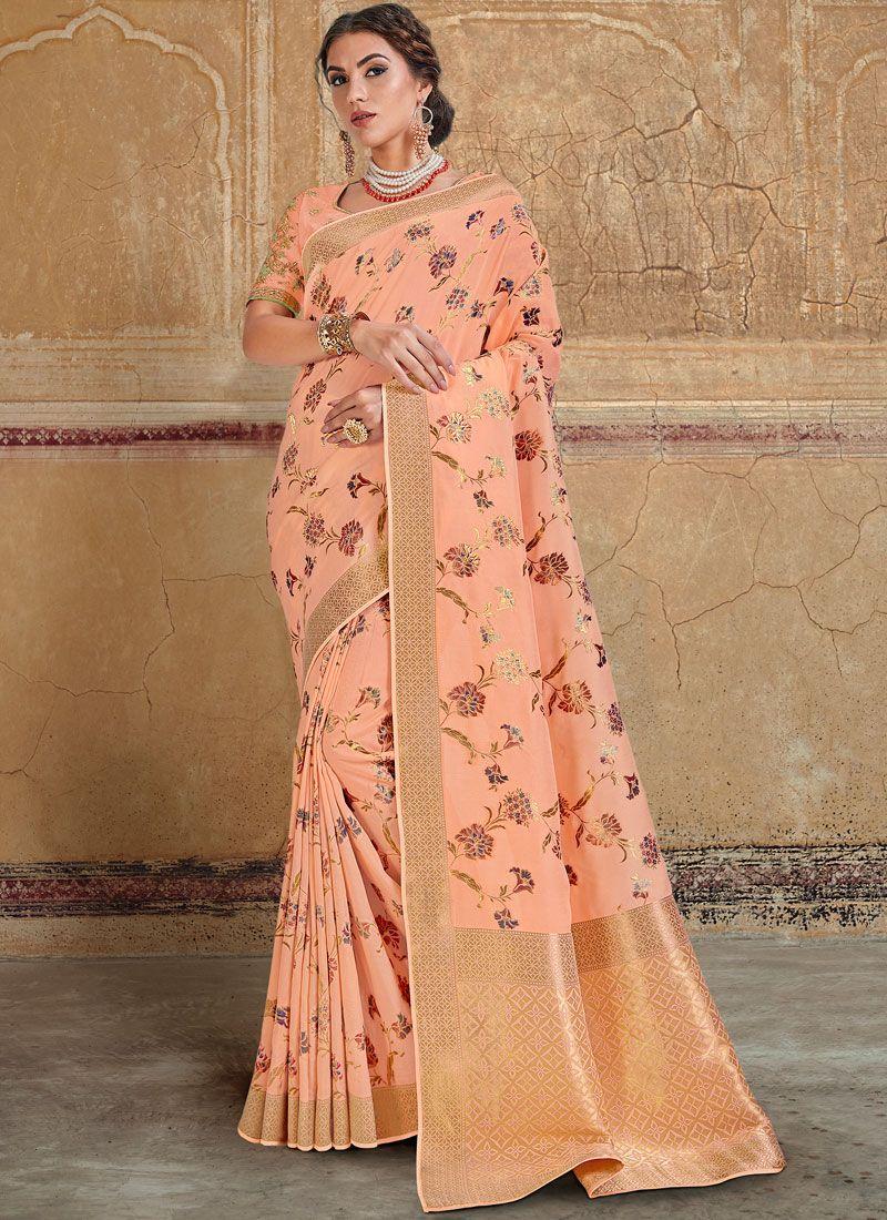 Silk Saree Resham Silk in Peach