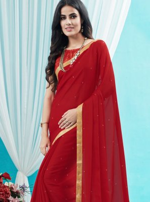 Silk Saree Stone Silk in Red