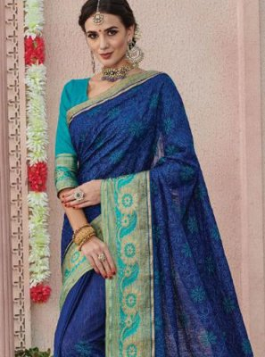 Silk Saree Weaving Art Silk in Blue