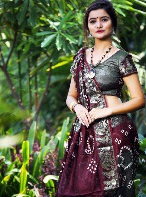 Silk Saree Weaving Art Silk in Grey and Wine