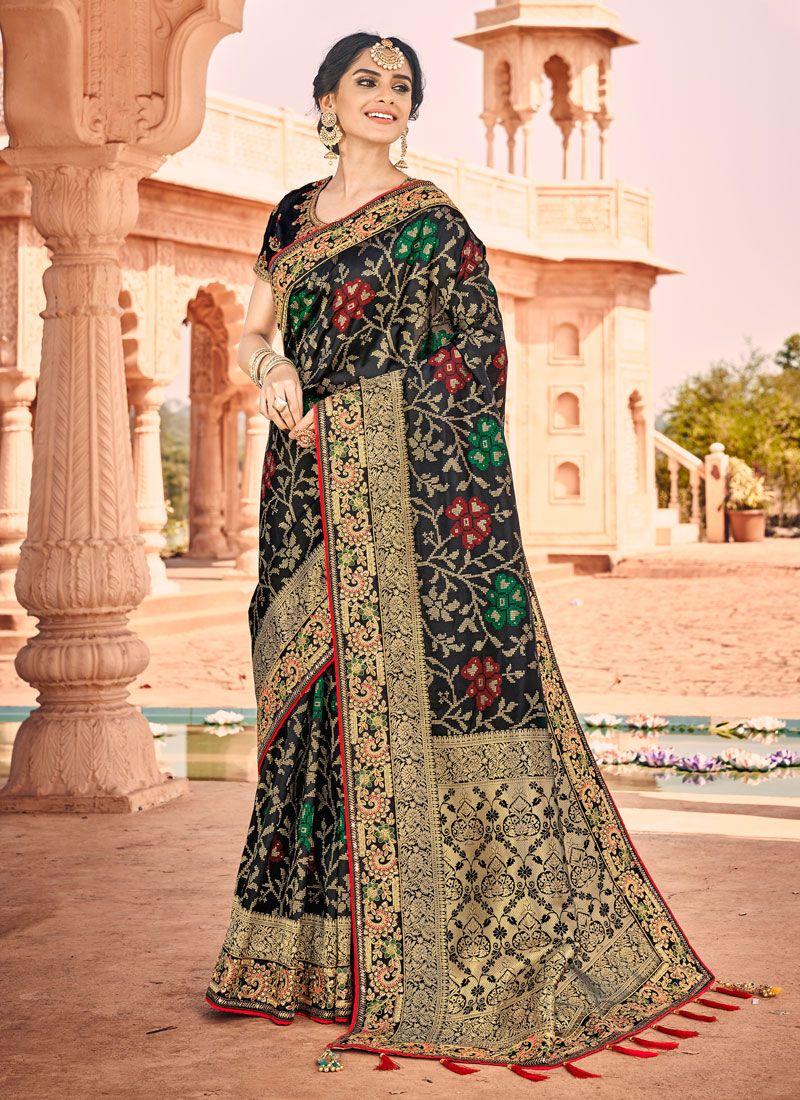 Silk Saree Weaving Banarasi Silk in Black