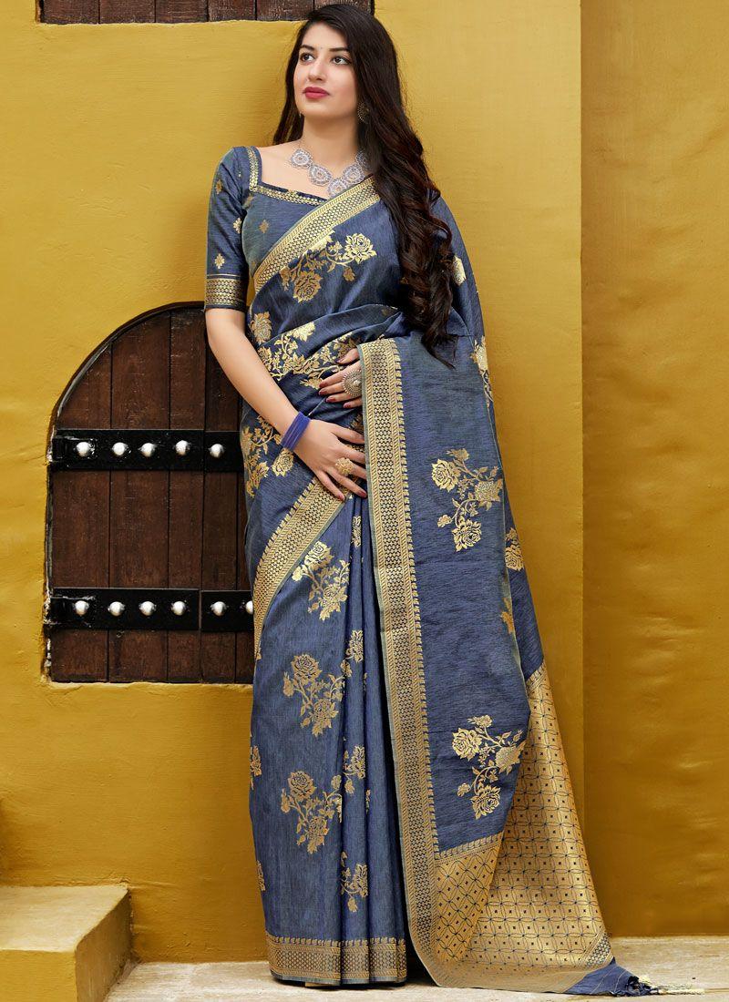 Silk Saree Weaving Silk in Grey