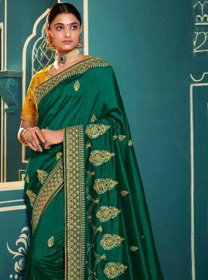 Silk Sea Green Embroidered Trendy Saree