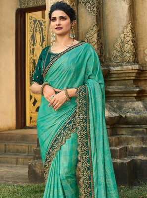 Silk Sea Green Resham Designer Saree