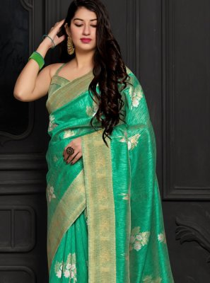 Silk Sea Green Weaving Trendy Saree